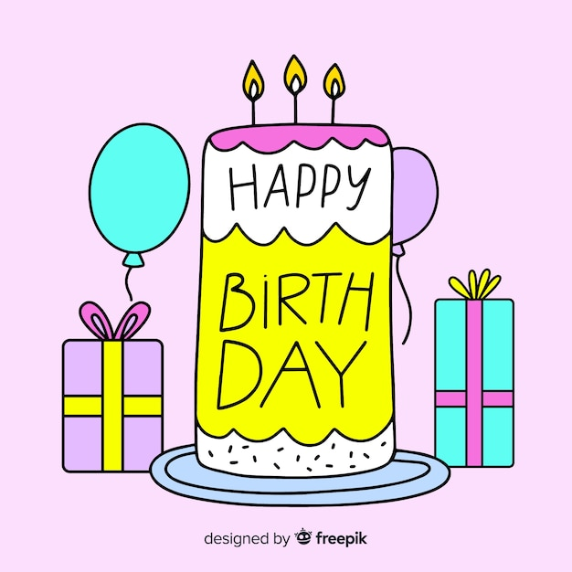 Beautiful happy birthday lettering Free Vector