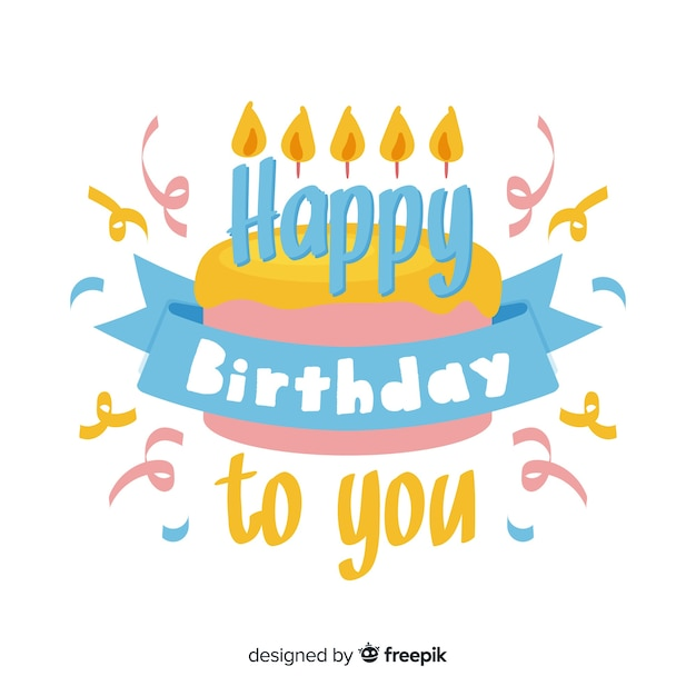 Beautiful happy birthday lettering Free Vector