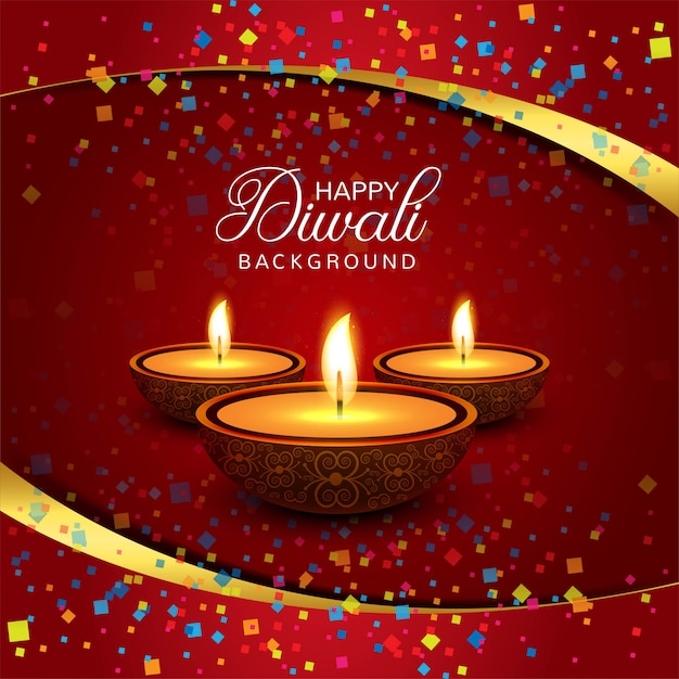 Beautiful happy diwali decorative background vector Free Vector