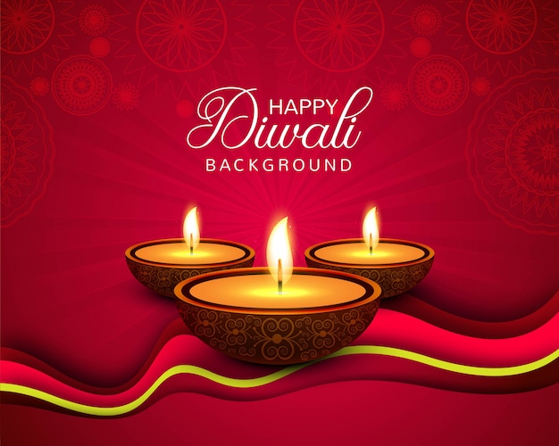Beautiful happy diwali decorative background Free Vector