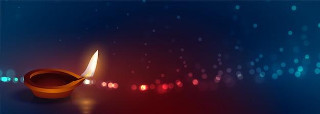 Beautiful happy diwali diya lights banner Free Vector