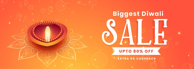 Beautiful happy diwali festival sale banner Free Vector