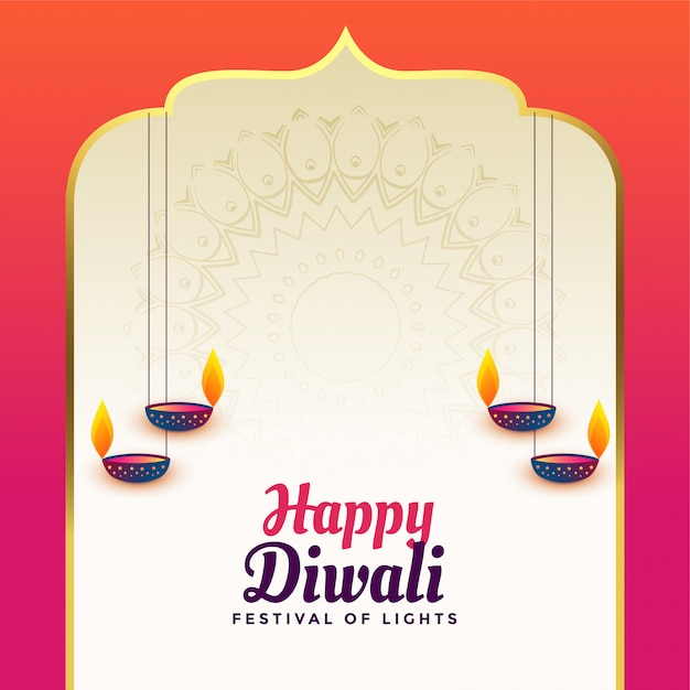 Beautiful happy diwali indian style background Free Vector