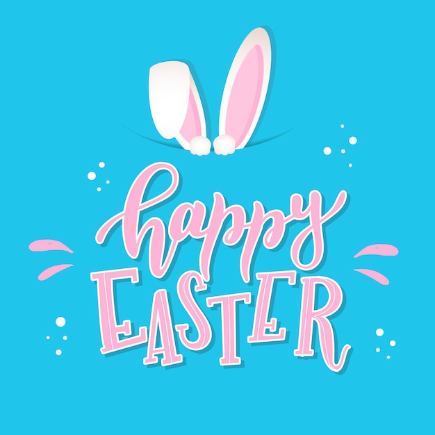 Beautiful happy easter lettering quote and ears Premium Vector