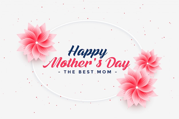 Beautiful happy mother's day flower greeting Free Vector