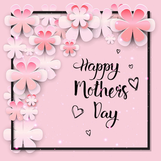 Beautiful happy mothers day greeting card design Premium Vector