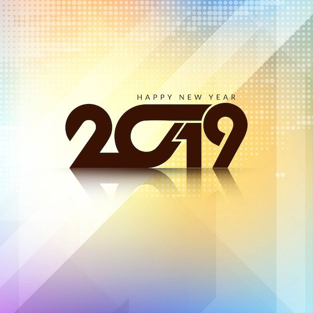 Beautiful Happy New Year 2019 background design Free Vector
