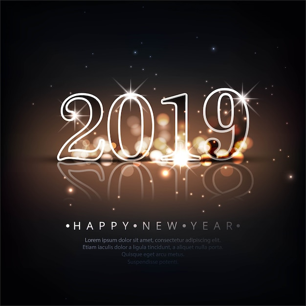 Happy 2019 >> Beautiful Happy New Year 2019 Text Background Vector Free Download