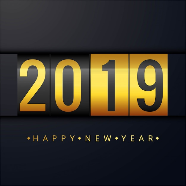 Beautiful happy new year 2019 text festival background Free Vector
