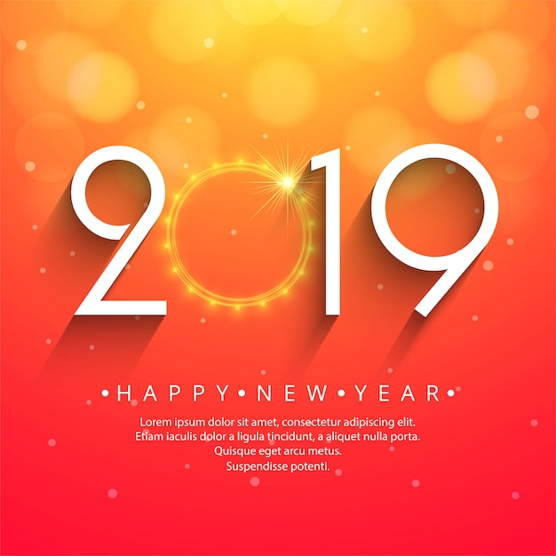Beautiful Happy New Year 2019 text festival background Vector | Free ...
