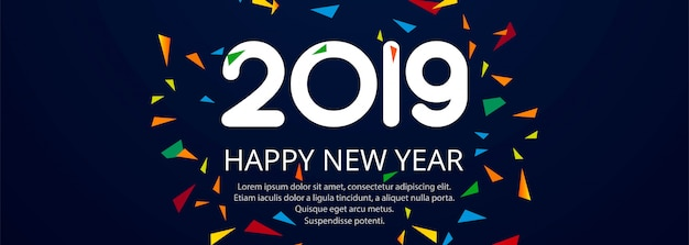 Beautiful Happy New Year 2019 text festival banner  Free Vector
