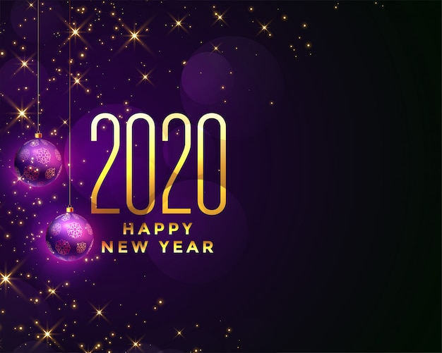 Beautiful happy new year 2020 sparkles background Free Vector