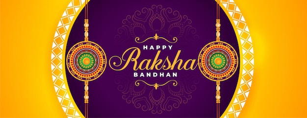 Beautiful happy raksha bandhan traditional festival banner Free Vector
