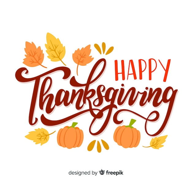 Beautiful happy thanksgiving lettering Free Vector