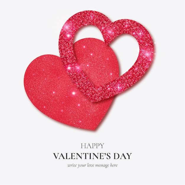 Beautiful happy valentine's day card with realistic glitter hearts template Free Vector
