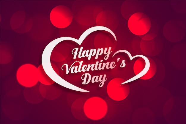Free Vector Beautiful Happy Valentines Day Greeting Card With Bokeh Light Effect