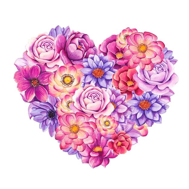 Красивое сердце, наполненное раскрашенными вручную акварельными цветами Premium векторы