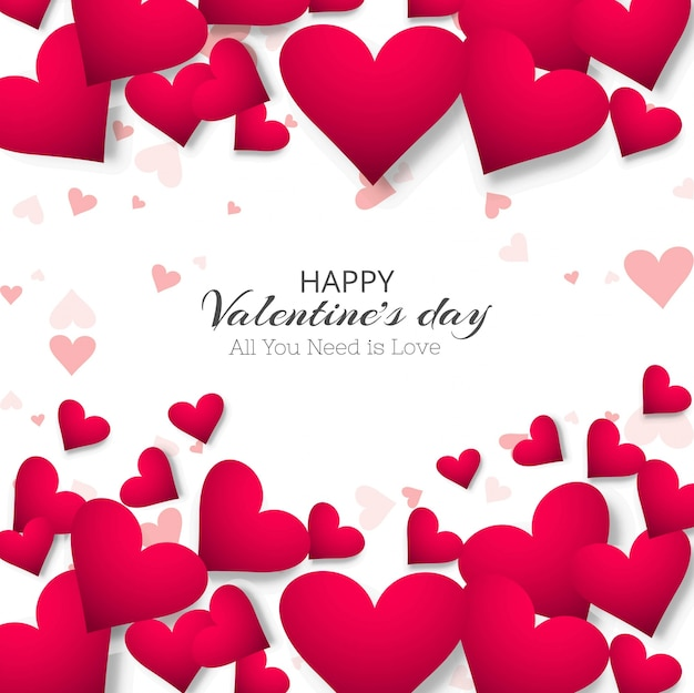 Beautiful Heart Valentines Day Design Illustration Vector Free