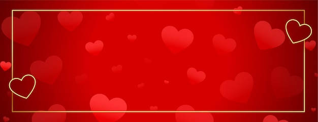 Beautiful hearts banner with golden frame and text space Free Vector