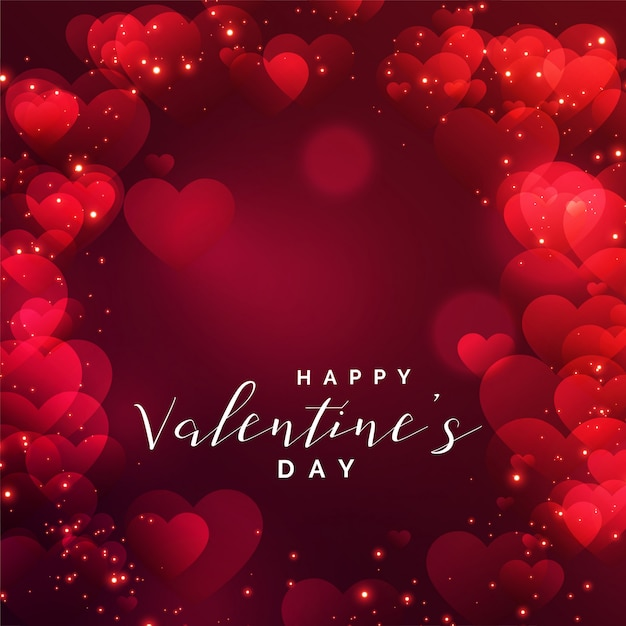 Beautiful hearts frame for valentines day Free Vector