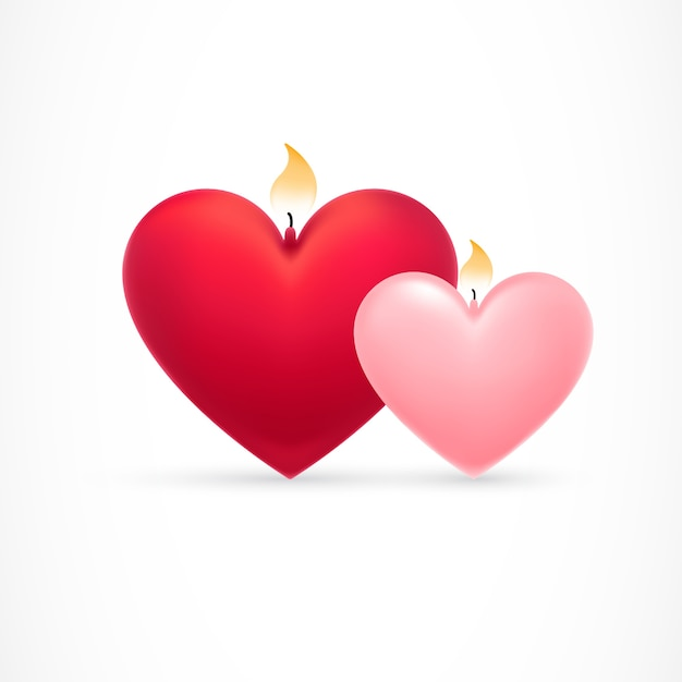 Beautiful hearts with flames Free Vector