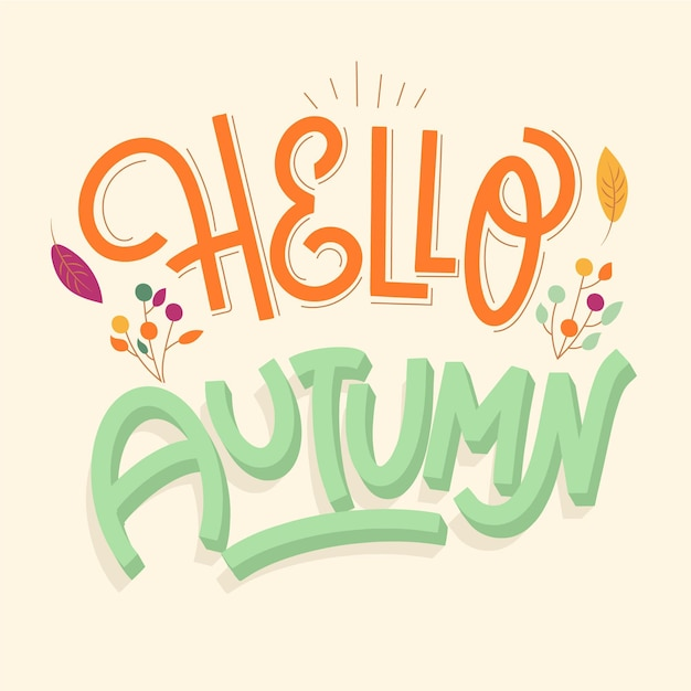 Beautiful hello autumn lettering with leaves Free Vector