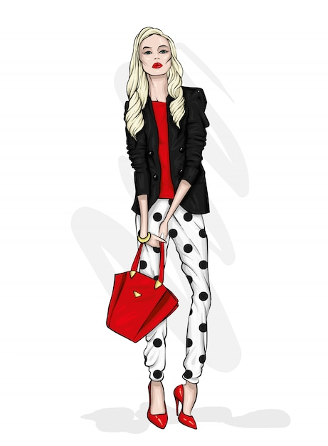 パンツとシャツが美しく高い。スタイリッシュな服とアクセサリー。 Premiumベクター