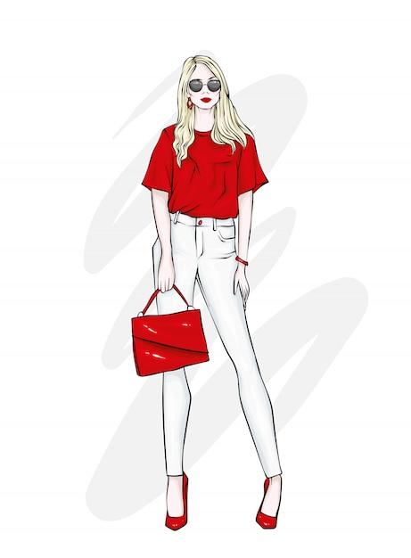 パンツ、メガネ、シャツが美しく仕上がりました。スタイリッシュな服とアクセサリー。 Premiumベクター