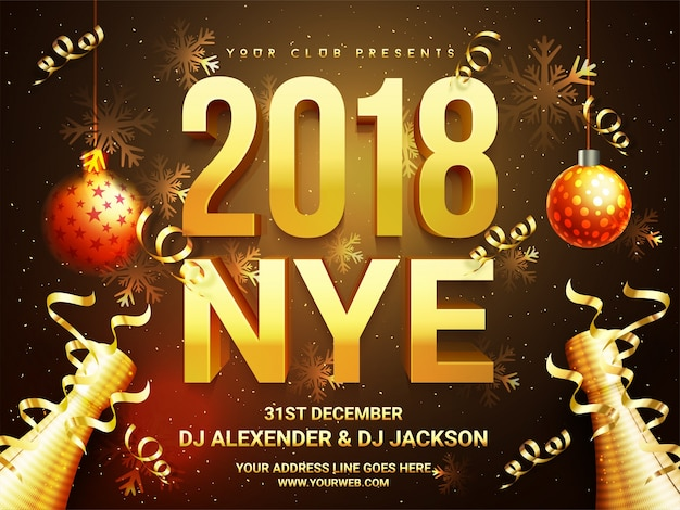 beautiful holiday background with 3d golden text 2018 nye new year eve hanging
