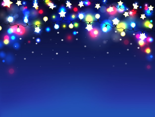 Beautiful holiday illumination realistic background or wallpaper Free Vector