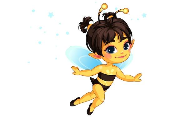 Beautiful honey bee fairy vector illustration Premium Vector