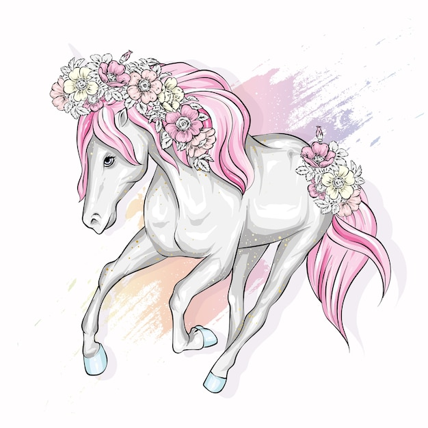 Красивая лошадь с цветами. . Premium векторы