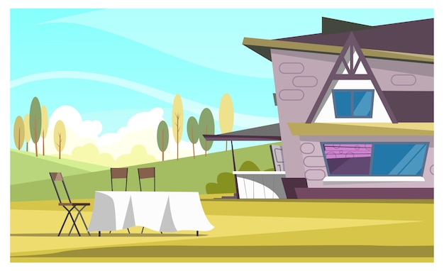 Beautiful house and round table with cloth outdoors Free Vector
