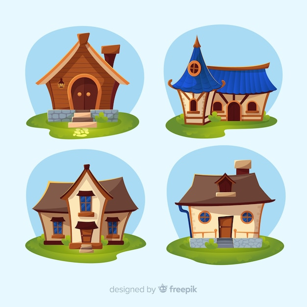 Beautiful houses set Free Vector
