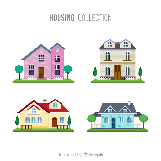 Beautiful houses set  Free Vector