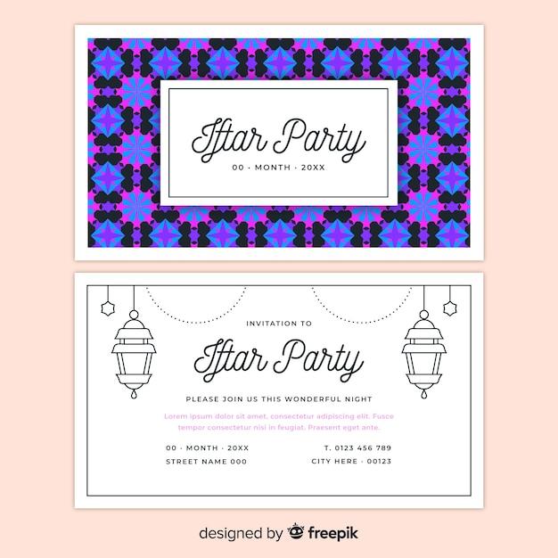 Beautiful iftar invitation template Free Vector