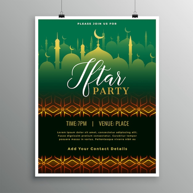 Beautiful iftar party invitation template Free Vector