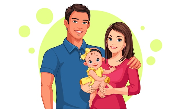 Beautiful illustration of father and mother with daughter Premium Vector