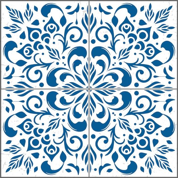 装飾タイルパターンの美しいイラスト。 Premiumベクター