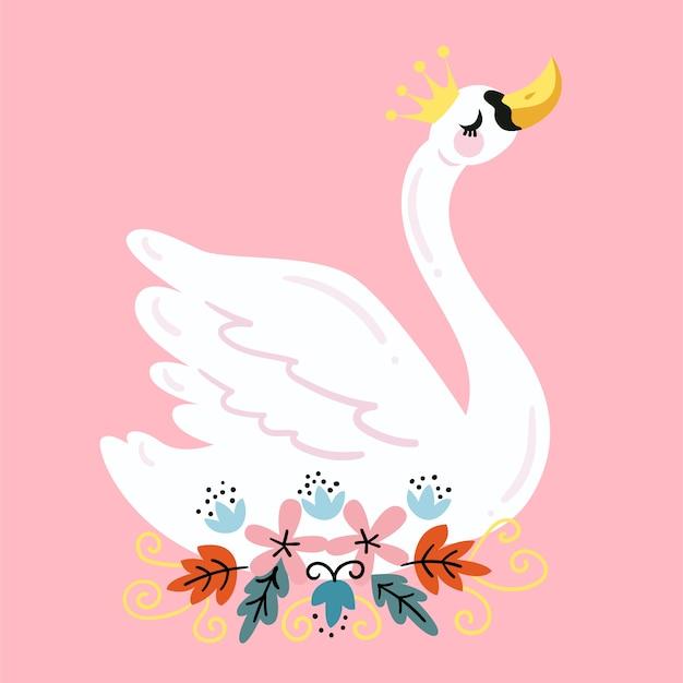 Bella illustrazione del cigno bianco Vettore gratuito