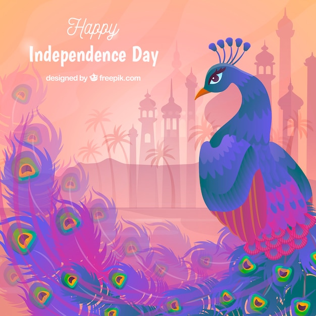 Beautiful India Independence Day Background With Peacock Vector