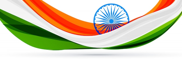 Beautiful indian flag design in creative style Free Vector