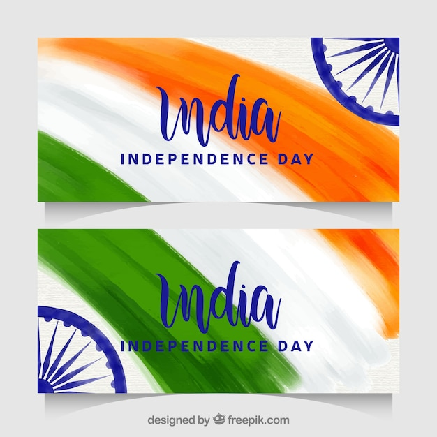 Beautiful indian independence day banners Free Vector