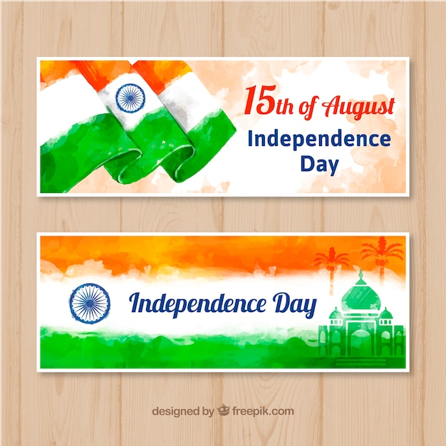 Beautiful indian independence day sale banner in watercolor style Free Vector