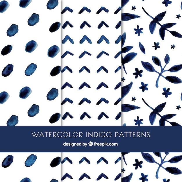 Beautiful indigo patterns Free Vector