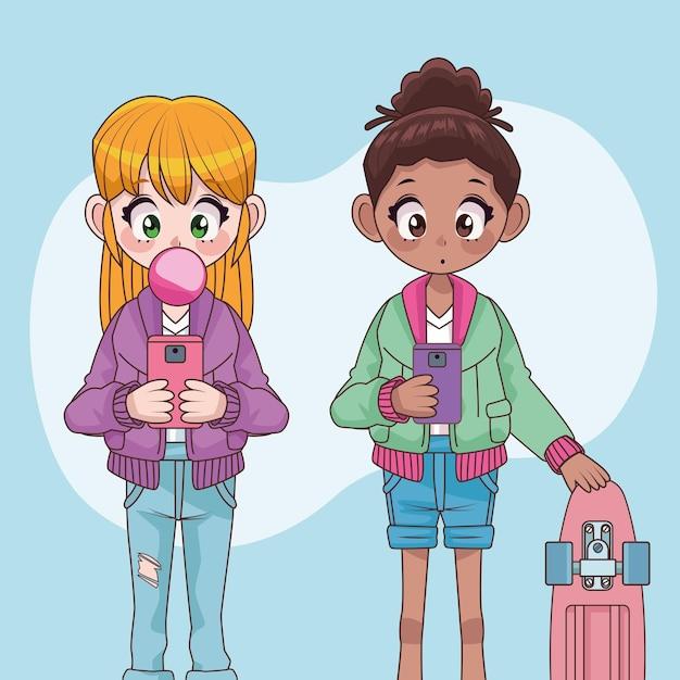 Beautiful interracial teenagers girls couple anime characters  illustration Premium Vector
