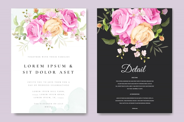 Beautiful invitation card with colourful floral and leaves template Premium Vector