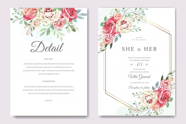 Beautiful invitation card with floral wreath template Premium Vector