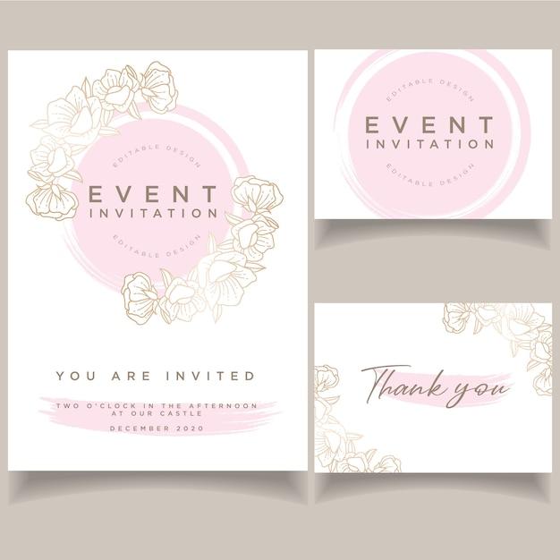 Beautiful Invitation Event Wedding Card Template Vector