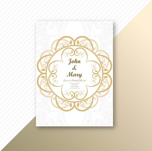 Beautiful invitation wedding card template floral design Free Vector